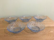 Set of 5 Blue Glass Dishes