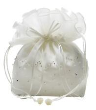 HBH Brautmoden Brauthandtasche aus Satin mit Perlen bestickt,Farbe: Ivory, Weiss