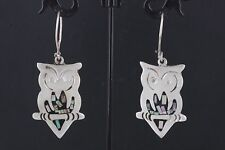 Sterling Silver Mexico Inlaid Abalone Stones Owl Earrings Fine 925 1610B