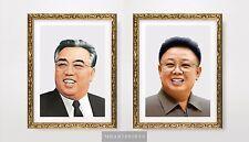 2 x NORTH KOREA LEADERS Art Print Poster Kim Il Sung Kim Jong il Wall Portraits