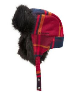 Columbia Winter Challenger Trapper Faux Fur Hat- Red/Blue Plaid- Small/Medium