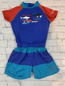 NEW Speedo Kids UV 50 2-Piece Flotation Suit Size 1-2 Rash Guard Blockthburn