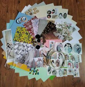 Vintage 150+ pieces scrapbooking bundle craft journal ephemera paper decoupage