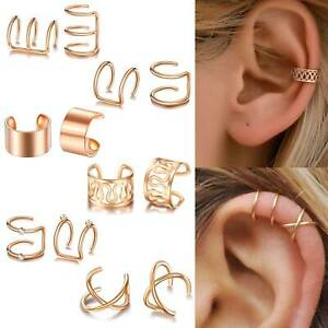 12PCS Ear Clip Cuff Wrap Fake Earring Stud Hoop Non Piercing Cartilage Helix Set