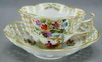 Dresden Hand Painted Courting Couple Floral & Gold Reticulated Quatrefoil Cup