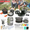 Outdoor Camping Cookware Backpacking Hiking Cooking Tableware Kettle Set Stove