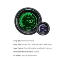 Genuine Prosport Evo 52mm Green White Gauge DC voltage 8v-18v