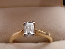Q68 Ladies 18ct gold emerald cut solitaire G / SI1 diamond engagement ring