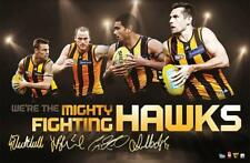 AFL Hawthorn Hawks 4 Player Faux-Signed Sports Print- Mighty Fighting Hawks