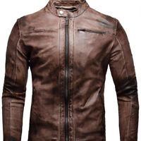 Men's Biker Vintage Cafe Racer Distressed Motorcycle Brown Real Leather Jacket