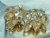 WOW Larger Juliana Vintage 80's Open Crystal Pink Rhinestone Clip Earrings 55D0