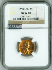 1966 SMS NGC MS67 RD MAC PQ LINCOLN CENT 1c, GORGEOUS COLOR & LUSTER!
