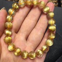 8.5mm Natural Gold Rutilated Quartz Titanium Stretch Crystal Beads Bracelet