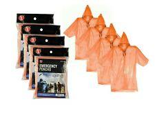 4 Emergency Rain Poncho Hooded Camping Waterproof Reusable Orange Adult Size
