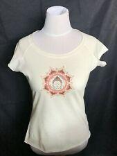 Women's Organic Tee Gratitude Buddha T-Shirt Light Cream Meditation Yoga MEDIUM