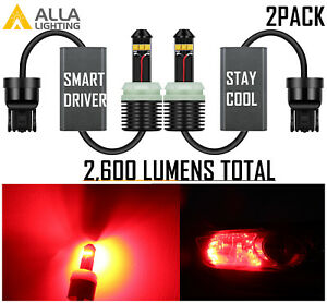 Alla Lighting RED CANBUS 7443 Brake Light Bulb Tail Light Bulb,Super Bright Lamp