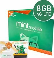 Mint Mobile Prepaid SIM Card with Unlimited Talk and Text 8GB/Month LTE for 3 Mo