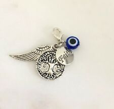 Clip On Charms For Bracelets Evil Eye Tree of Life and Angel Wing Faith Charms