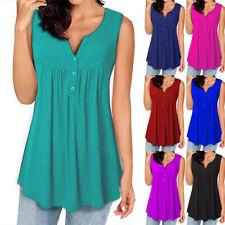 Women Summer Sleeveless Tank V Neck Casual Loose T Shirt Button Ruffle Blouse