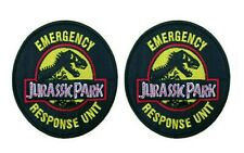 """Jurassic Park Emergency Response Unit 4"""" Logo 2-Pack Embroidered Patch Iron Sewn"""