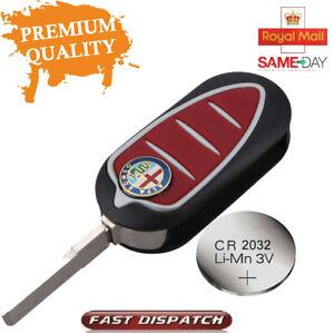 Alfa Romeo Giulietta MiTo 4C 3 Button Remote Flip Car Key Fob Case Kit + Battery