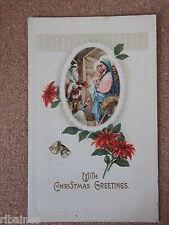 R&L Postcard: Christmas Greetings, Jesus, Mary, Bethlehem, USA Postal Stamp