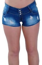 Womens Extra Mini Micro Denim Jeans Skinny Fit Stretch Ladies Shorts