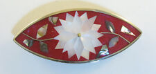 """Alpaca hair clip / Barette with abalone shell inlay red color 3 1/2"""" long"""