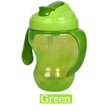 260ml Baby Cup Infant Learn Drinking Straw Handle Bottle Sippy Cup BPA Top Green