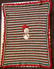 Handmade Crochet Christmas Holiday Blanket Throw Lapghan Afghan Snowman Striped