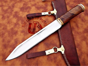 CUSTOM HANDMADE CARBON STEEL VIKING KNIFE WITH WOOD HANDLE & LEATHER SHEATH