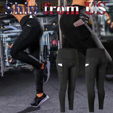 Women High Waist Yoga Pants Pockets Sport Gym Compression Leggings Fitness Tight