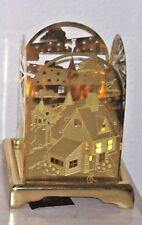 Partylite Brass Starry Night Square Luminaria  & Carlton Base RARE EUC