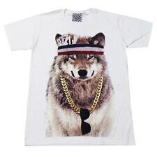 ARAINA wolf gangster hiphop rock punk skate crew street wear White T-Shirt M L