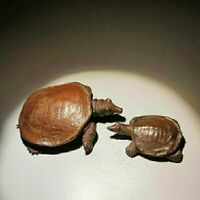 Old Collectible pair Tea Pet Pure Solid Copper tortoise Chinese turtle Statue