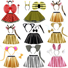 887e81db138 Kids ANIMAL COSTUME FANCY DRESS SKIRT Party Accessory Girls EARS BOW TAIL  SET UK