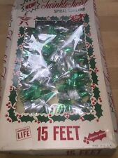 Mid Century Twinkle Twirl Trim Christmas Spiral Garland Green Silver