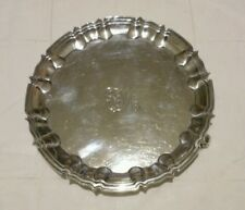 antique solid sterling silver card tray by William Hutton London 1899