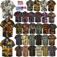 Mens Ethnic Short Sleeve Casual Cotton Linen Printing Hawaiian Shirt Cozy Blouse