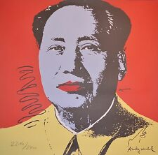 Andy Warhol Mao Zedong Lithograph Limited 2400 hand numbered 23 x 23 red yellow