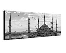150x50cm Panoramabild Schwarz Weiss - Blaue Moschee Türkei Istanbul Abendhimmel