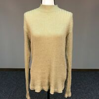 Westbound Women's Size L Sweater Pullover Gold Glitter Cotton Blend Long Sleeve