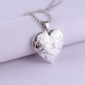 Foto Medaillon in Herzform Anhänger und Kette. Silber Farbe