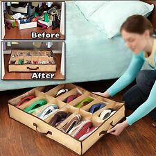 12 Slots  Practical Shoes Storage Space Saving Organizer Under Bed Case Bag ✿C