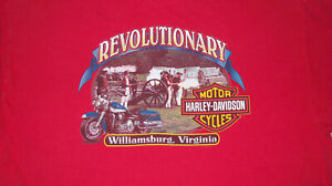 Mens 3XL Vintage HARLEY DAVIDSON Revolutionary War Shirt Williamsburg Virginia