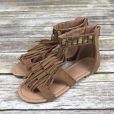 Brand New Forever Sandals Women 7.5 Fashion Tan Favorite Fringe Back Zipper Flat