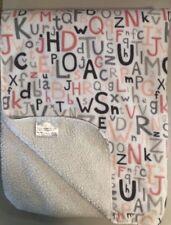S.L. Home Fashions Plush White Pink Gray Alphabet Baby Girl Blanket ABC VGUC