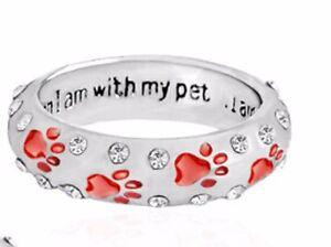 Silver Red Enamel Paw Print Stack Ring