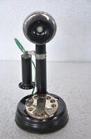 Vintage Unique Fine Litho Black Candlestick Telephone Set Model , Collectible