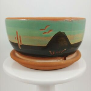 "SUPERSTITION STONEWARE Green Southwestern 4"" Small Terracotta Succulent Planter"